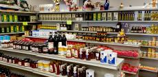 Nice selection of Greek honey and olive oil at Brillakis Foods in Niles