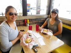 Friends enjoying lunch at Burger Baron in Chicago