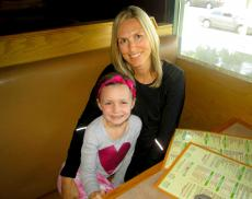 Mom and daughter enjoying breakfast at Butterfield's Pancake House & Restaurant in Naperville