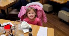 Birthday girl celebrating at Butterfield's Pancake House & Restaurant in Oakbrook Terrace