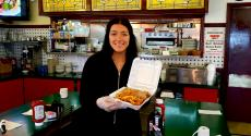 Friendly server with Greek Wrap at The Canteen Restaurant in Barrington