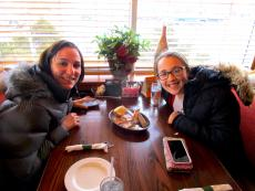 Mom and daughter enjoying breakfast at Cary's Family Restaurant in Cary