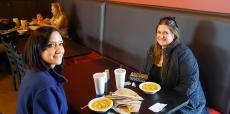 Friends enjoying lunch at Charkie's Restaurant in Carol Stream