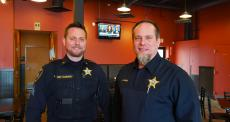 Police officers enjoying lunch at Charkie's Restaurant in Carol Stream