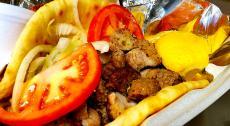 The famous Pork Souvlaki at Charkie's Restaurant in Carol Stream