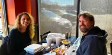 Couple enjoying lunch at Charkie's Restaurant in Carol Stream