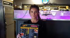 Friendly server at Chaser's Sports Bar & Grill in Niles