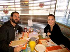 Couple enjoying Valentine's breakfast at Christy's Restaurant & Pancake House in Wood Dale