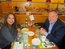 Couple enjoying breakfast at Christy's Restaurant & Pancake House in Wood Dale