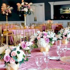 Ballroom designed for baptism reception at Concorde Banquets in Kildeer