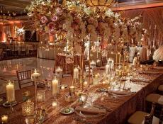 Beautifully decorated ballroom at Concorde Banquets in Kildeer