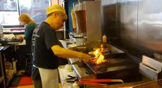 Hard working grill man at Craving Gyros in Lake Zurich