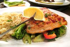 Delicious salmon dinner at Johnny's Kitchen and Tap Restaurant