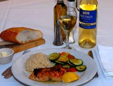 Grilled Salmon (Grecian Style) at Demetri's Greek Restaurant in Deerfield