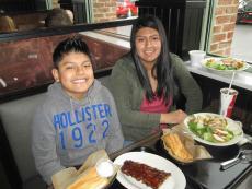 Enjoying the bbq ribs and chicken salad at Dengeos in Skokie