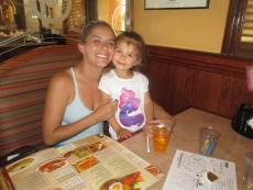 Mother and daughter enjoying lunch at Downers Delight in Downers Grove
