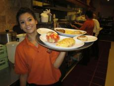 Friendly server at Eggs Inc. Cafe in Bolingbrook