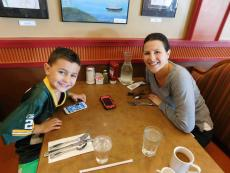 Family enjoying breakfast at Georgie V's Pancakes & More in Northbrook