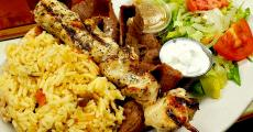 The famous Chicken Kabob with Gyros at Goodi's Restaurant in Niles