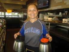 Friendly server and Cubs fan at Kappy's American Grill in Morton Grove