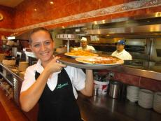 Friendly server at Lumes Pancake House in Orland Park