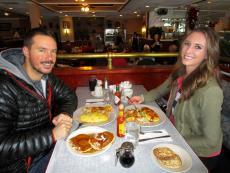 Couple enjoying breakfast at Maxfield's Pancake House in Schaumburg