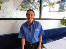 Friendly server at Mykonos Greek Restaurant in Niles