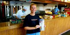 Loyal carryout customer at Nick's Drive In Restaurant in Chicago