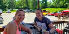 Mom & daughter enjoying lunch at Niko's Red Mill Tavern in Woodstock
