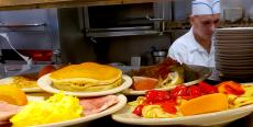 Assorted breakfast dishes at Omega Restaurant & Pancake House in Schaumburg