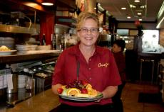 Friendly server at Omega Restaurant & Pancake House in Schaumburg