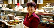 Friendly server at Palm Court Restaurant in Arlington Heights