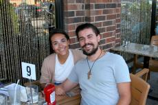 Couple enjoying the outdoor patio at Papagalino Cafe & Pastry Shop in Niles