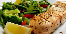 The famous Broiled Salmon with vegetables at Papagalino Cafe & Pastry Shop in Niles