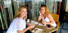 Friends enjoying lunch at Papagalino Cafe & Pastry Shop in Niles