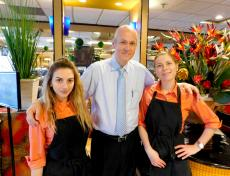Manager and staff at Papagalino Cafe & Pastry Shop in Niles
