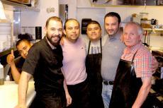 Hard working kitchen crew at Plateia Mediterranean Kitchen & Bar in Des Plaines