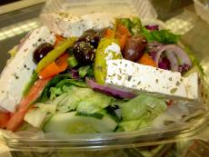 The popular Greek Salad at Plush Pup Gyros in Chicago