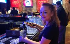 Friendly bar server at Rocky's American Grill in Prospect Heights