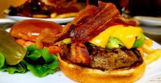 The famous Avocado Bacon Burger at Rose Garden Cafe in Elk Grove Village