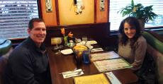 Couple enjoying dinner at Rose Garden Cafe in Elk Grove Village