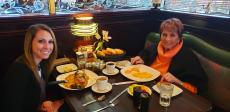 Mom & daughter enjoying dinner at Rose Garden Cafe in Elk Grove Village