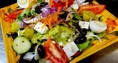 The popular Mediterranean Salad at Rose Garden Cafe in Elk Grove Village