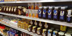 Nice selection of pure Greek honey at Spartan Brothers Imported Foods in Chicago