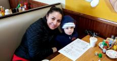 Mom and son enjoying lunch at Tasty Waffle Restaurant in Romeoville
