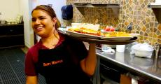 Friendly server at Tasty Waffle Restaurant in Romeoville