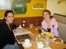 Friends enjoying breakfast at Tasty Waffle Restaurant in Romeoville