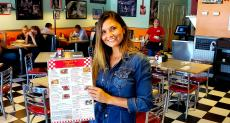 Happy carry-out customer at Teddy's Diner in Elk Grove Village