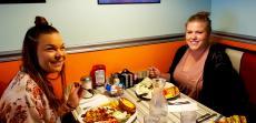 Friends enjoying lunch at Teddy's Diner in Elk Grove Village