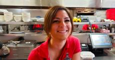 Friendly server at Teddy's Diner in Elk Grove Village